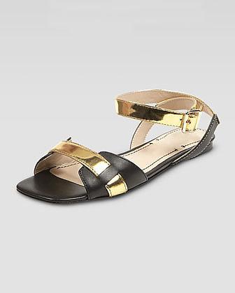 Elizabeth and James Two-Tone Ankle-Wrap Sandal, Black