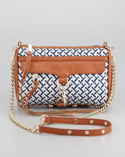 Rebecca Minkoff Mini M.A.C. Woven Leather Crossbody Bag, Navy/White/Camel