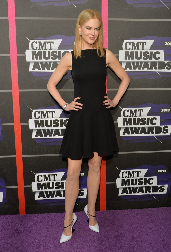 Nicole Kidman wore a black dress to the CMT Awards.