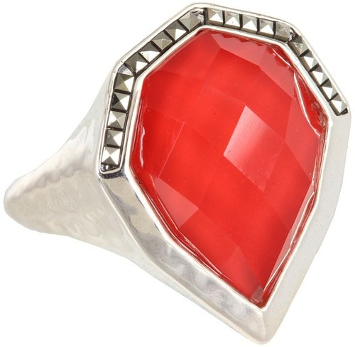 Judith Jack - 60247472 Caliente Ring (Marcasite/Coral Red) - Jewelry