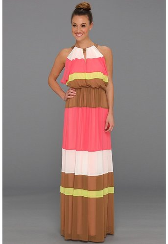 Vince Camuto - Colorblock Batwing Floor-Length Dress (Teaberry Multi) - Apparel