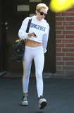 Miley Cyrus wore an all-white ensemble to the studio.
