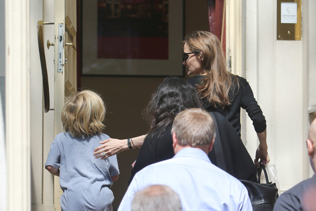Angelina Jolie and her kids visited a Berlin coffee house.