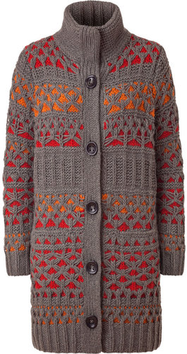 Iris von Arnim Taupe and Spice Handmade Knit Vail Coat