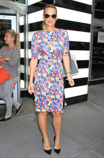 Molly Sims popped up in NYC sporting this Zara floral dress ($90) that would look just as amazing at work as it would on the weekend.