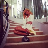 Rihanna posed on the famous staircase at Coco Chanel's home in Paris. Source: Instagram user badgalriri