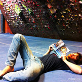Ansel Elgort lounged with a copy of Divergent at a climbing gym. Source: Ansel Elgort on WhoSay