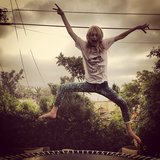 Poppy Delevingne got some serious air while jumping on a trampouline. Source: Instagram user poppydelevingne