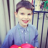 Julian Seinfeld sported some red-dyed lips at the Baby Buggy Bedtime Bash.  Source: Instagram user jessseinfeld
