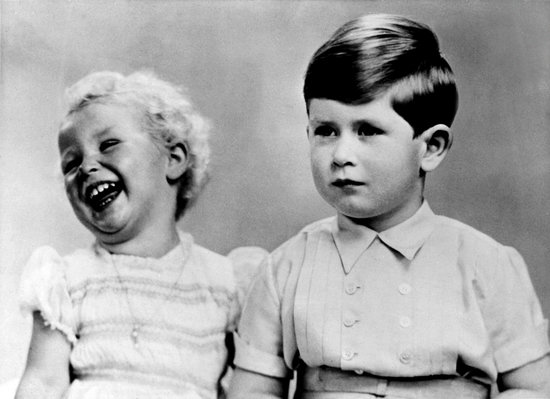 Prince Charles was so serious with his baby sister, Princess Anne, in this 1953 portrait.
