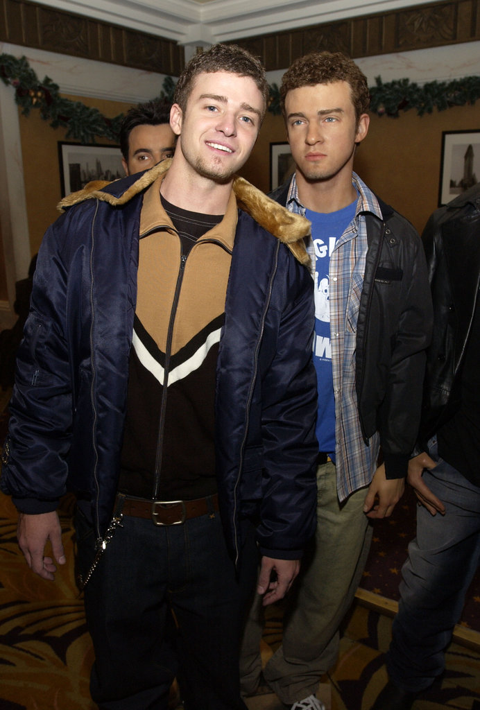 In December 2002, Justin Timberlake posed with his wax friend in the Big Apple.