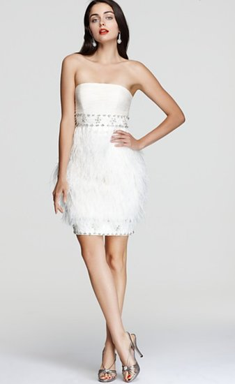 This Sue Wong strapless feather dress ($528) has party girl written all over it (in the chicest way possible).