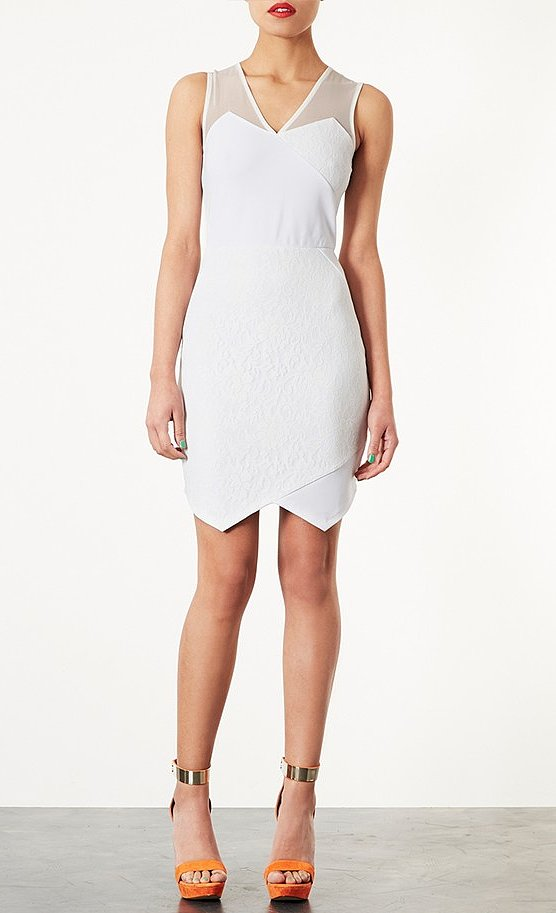 Topshop's lace appliqué dress ($92) will save you tons of money and make you look amazing on your special night. We dig the edgy hemline, too.