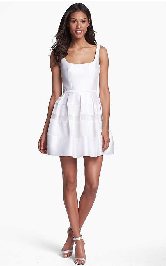 This ABS by Allen Schwartz tonal striped fit-and-flare dress ($328) will lend you a sexy-cum-retro flair on your big day.