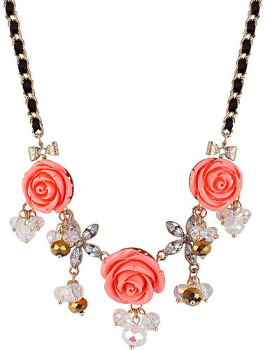 Three Flower Frontal Necklace