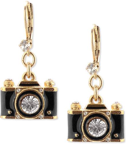 Betsey Johnson Earrings, Gold-Tone Black Camera Crystal Drop Earrings