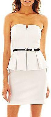 Bisou Bisou® Belted Strapless Peplum Dress