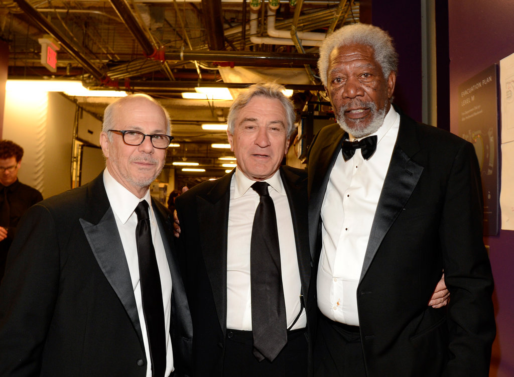 Morgan Freeman and Robert De Niro met up with publicist Stan Rosenfield backstage.