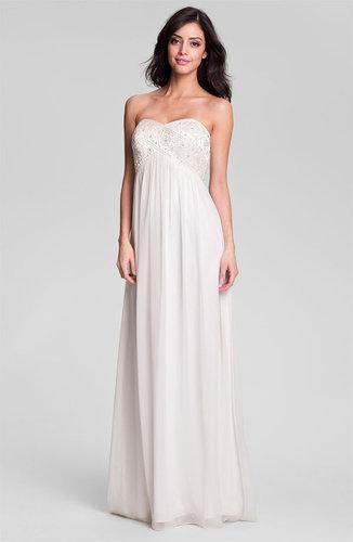 Eliza J Strapless Beaded Chiffon Gown
