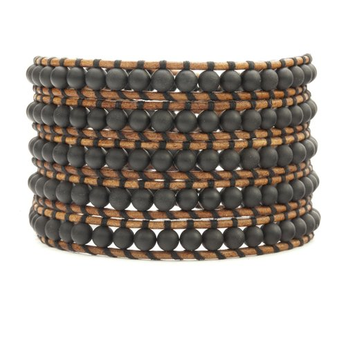 Matte Onyx Wrap Bracelet on Natural Brown Leather