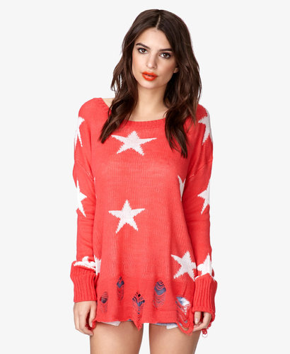 FOREVER 21 Star Pattern Waffle Knit Sweater