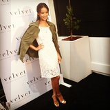 Jamie Chung looked fresh in white and green at the Brentwood opening of Velvet.