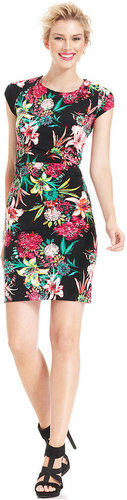 NY Collection Dress, Cap-Sleeve Floral-Print Sheath
