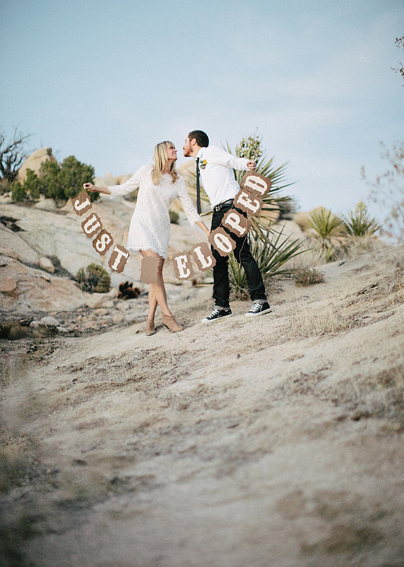 The Location When you're eloping, the location doesn't have to be group-friendly or easily accessible, so whether you want to have it in Joshua Tree, CA, like this couple or somewhere exotic, the world's your oyster! Photo by Rad + In Love via 100 Layer Cake