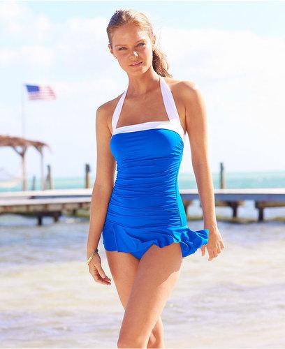 Lauren Ralph Lauren Lauren by Ralph Lauren Swimsuit, Halter Ruched Tummy Control Swimdress