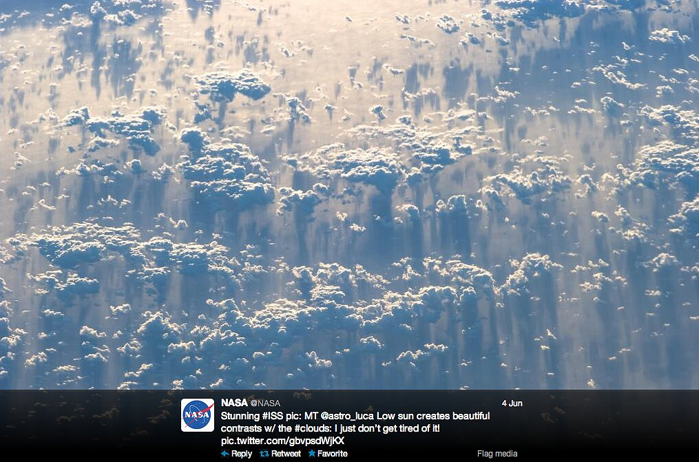 European astronaut Luca Parmitano captured this incredible picture of clouds from the International Space Station. The tweet was kindly translated by NASA.