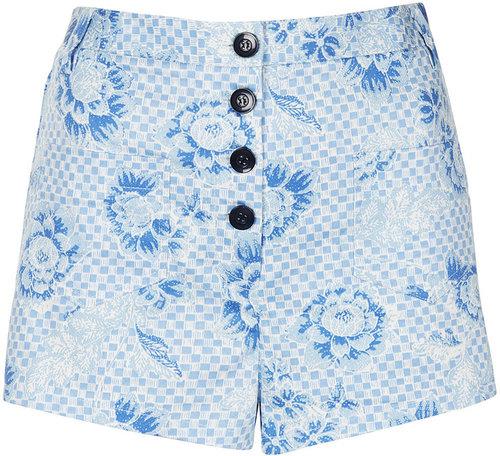 Checkerboard Print Shorts
