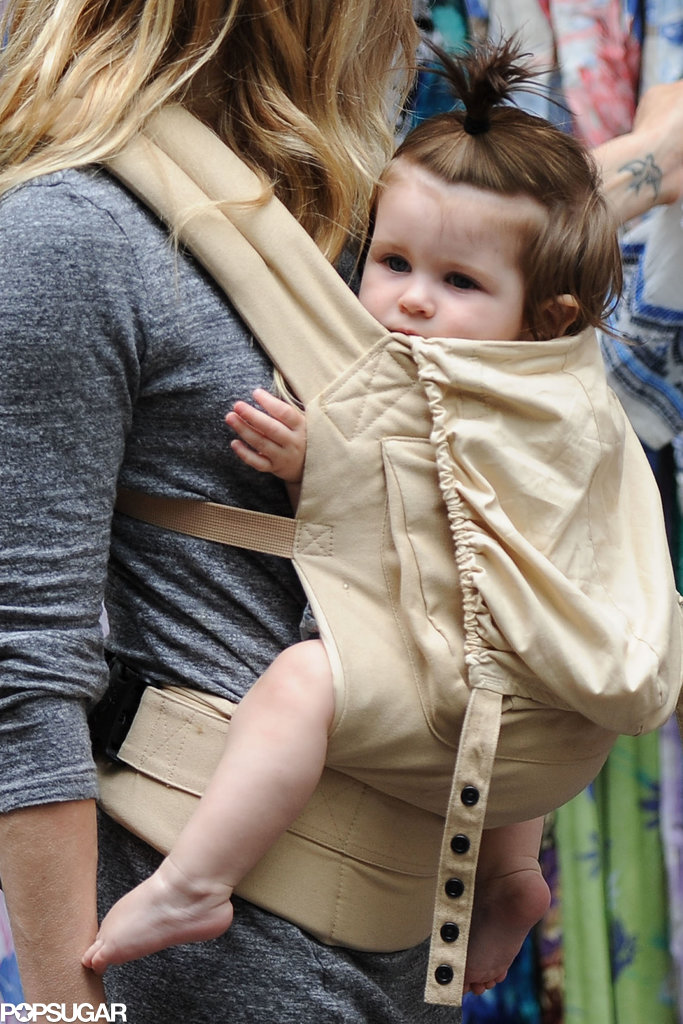Marlowe Sturridge looked cute in her carrier.