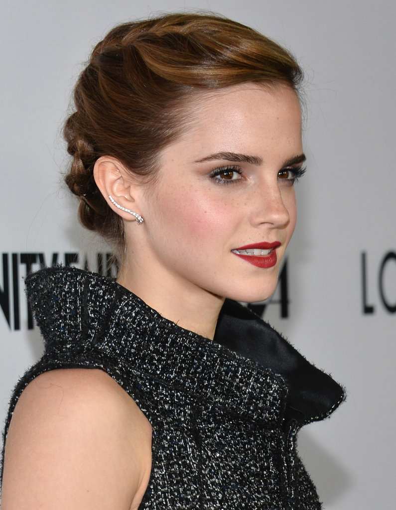 Emma Watson's cool French braid and berry lips.
