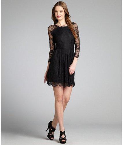 Wyatt black lace three quarter sleeve pleated dress