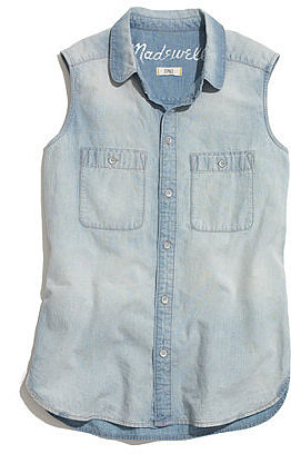 Sleeveless chambray shirt