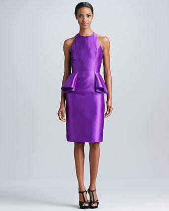 Carmen Marc Valvo Sleeveless Peplum Cocktail Dress
