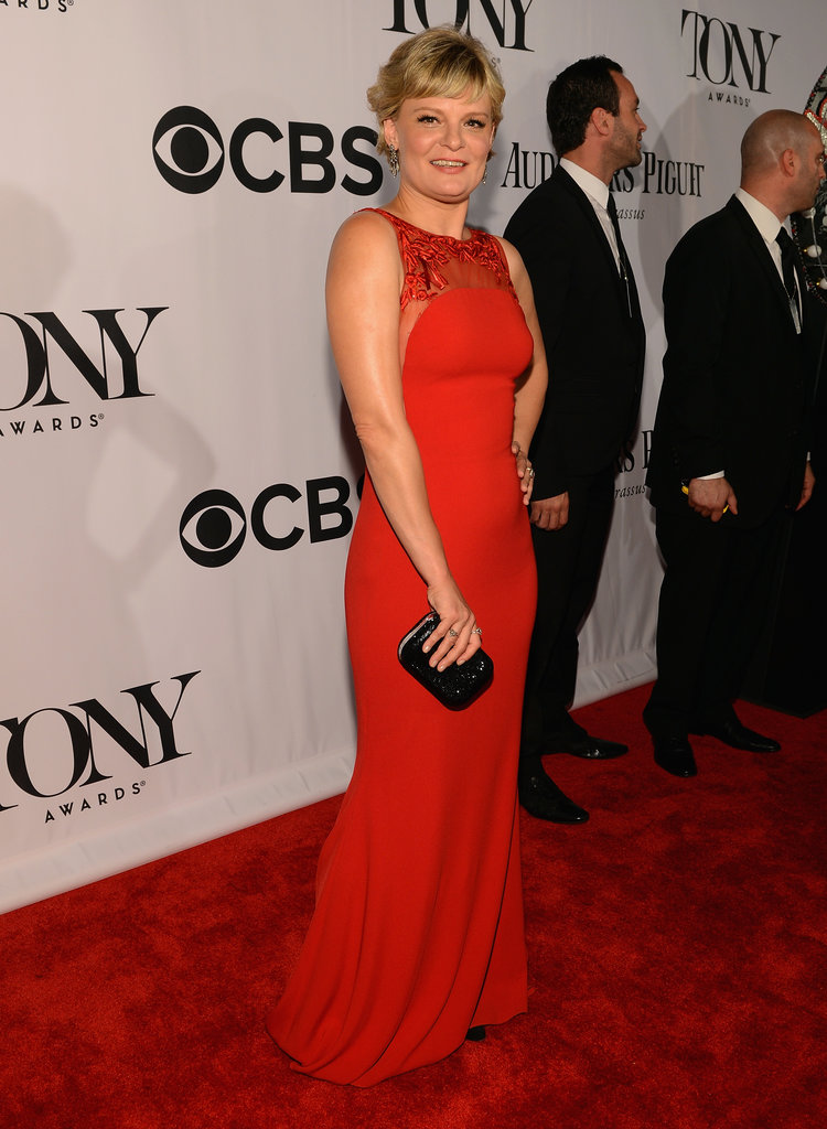 Martha Plimpton was red-carpet ready in a scarlet gown and Fred Leighton diamonds.