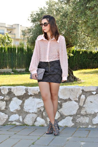 Soft Pink & Plaid Skirt