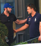 Russell Crowe and Hugh Jackman met up for coffee in NYC.