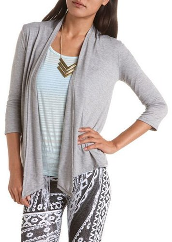 Open-Front 3/4 Sleeve Cover-Up