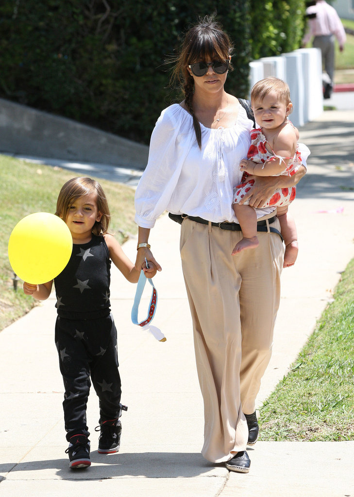 Kourtney Kardashian took a walk with her kids, Mason and Penelope, in LA on Saturday.