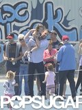 Ben Affleck picked up daughter Seraphina after she ran in a track meet in LA in April.
