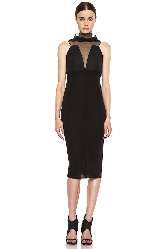 Want proof that a high neckline can still sizzle? See Rick Owens's deep-V, sheer-covered sheath ($2,030) for the perfect example.