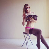 Lindsay, seen here reading, wasn't afraid to share photos of herself in lingerie.  Source: L's Journey