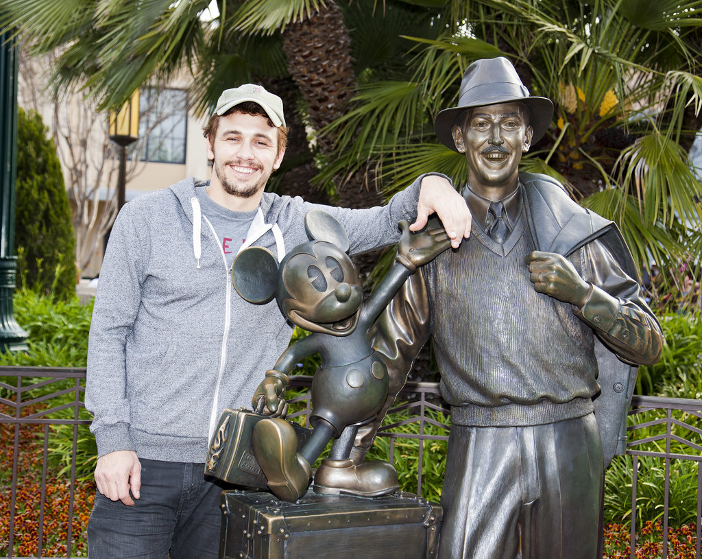 James Franco got up close and personal with a statue of Walt Disney at the LA park in March.
