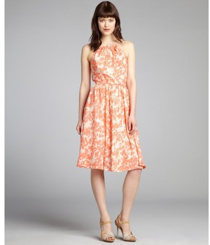 Pippa coral and cream floral printed silk chiffon halter dress