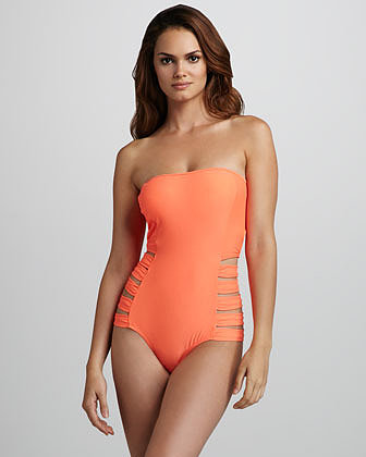 6 Shoreroad Contadora Neon Cutout Bandeau One-Piece Swimsuit
