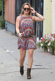 Hilary Duff stood out in a colorful printed dress, round sunglasses, and brown booties in Hollywood.