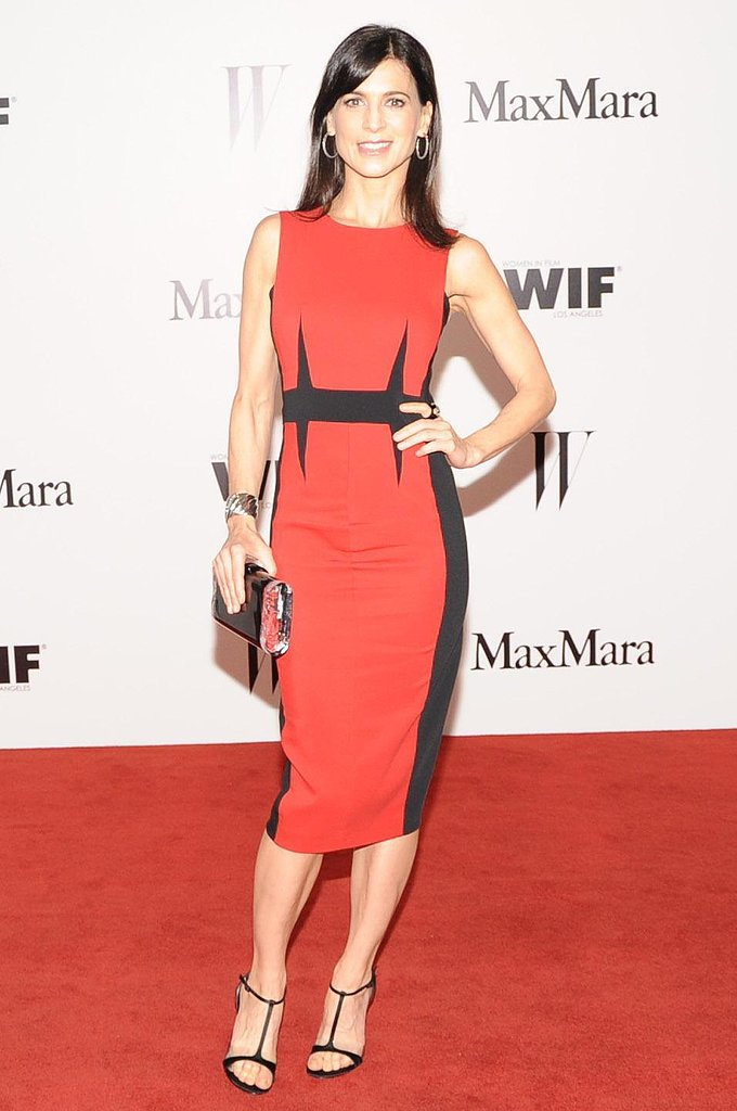 Perrey Reeves looked sleek in a red and black Sportmax sheath. Source: Owen Kolasinski/BFAnyc.com