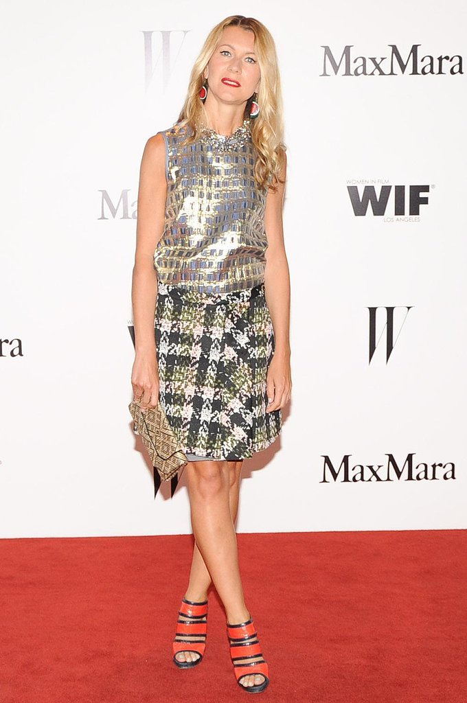 Natalie Joos walked the red carpet in a Max Mara navy-and-gold silk taffeta top and Sportmax pink-and-green printed neoprene skirt, which she finished off with bold heels. Source: Owen Kolasinski/BFAnyc.com